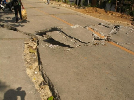 Shifted pavement on a highway after a 7.2 magnitude quake hit the central Philippine island of Bohol on October 15 with a death toll of 185. [photo by Moises Musico, ADRA-Philippines]