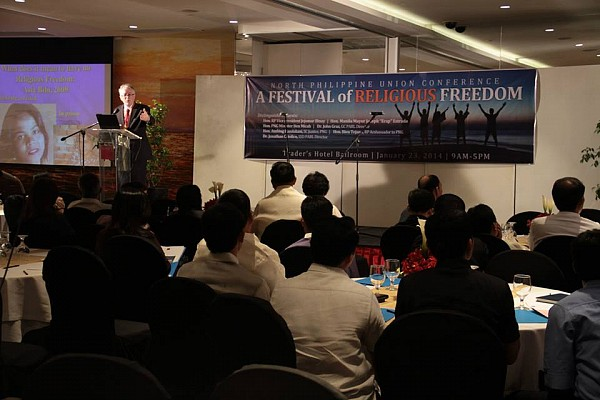 John Graz, PARL director for the world church headquartered in Maryland, USA, addresses Adventist leaders and some government officials in the Philippines in a hotel ballroom in Manila during a Festival of Religious Freedom, January 23 (Photo by NPUC Comm Dept).