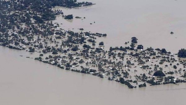 An aerial view of one of the flooded areas in Myanmar due to heavy rainfall and a recent typhoon. (photo supplied by ADRA Myanmar)