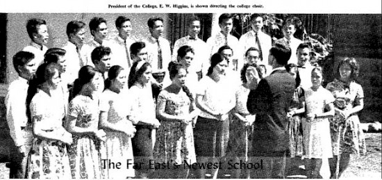E. W. Higgins, then president of Mt. Klabat College, conducts the college choir. This picture was originally published in the November 1966 issue of the Far Eastern Division OUTLOOK magazine.